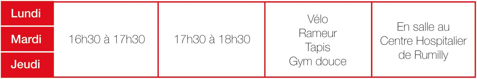 Lundi, Mardi, Jeudi de 16h30 à 17h30 et de 17h30 à 18h30 : Vélo, rameur, tapis, gym douce, en salle au Centre Hospitalier de Rumilly.