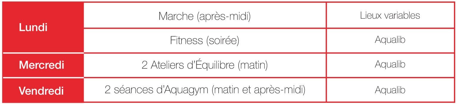 Lundi : Marche (après-midi), lieux variables. Fitness (soirée) à Aqualib. Mercredi : Deux ateliers d'équilibre (matin) à Aqualib. Vendredi : Deux séances d'aquagym (matin et après-midi) à Aqualib.