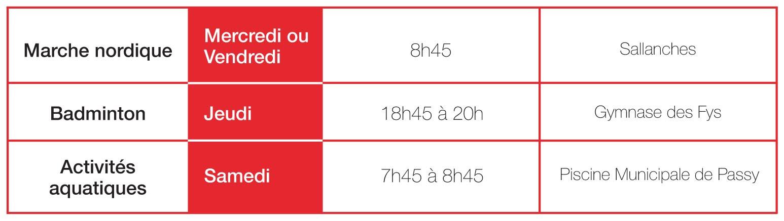 Marche Nordique : Mercredi ou Vendredi à 8h45 à Sallanches. Badminton : Jeudi de 18h45 à 20h au Gymnase des Fys. Activités Aquatiques : Samedi de 7h45 à 8h45 à la Piscine Municipale de Passy.