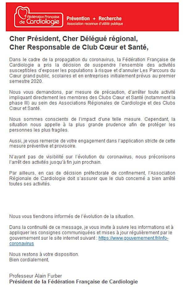 Lettre - Suspension des activités FFC